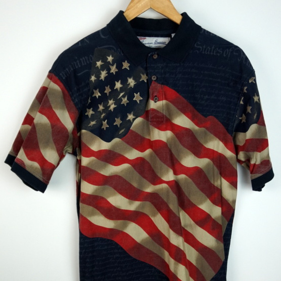 ee572040 American Summer Shirts | American Flag Constitution Polo M | Poshmark